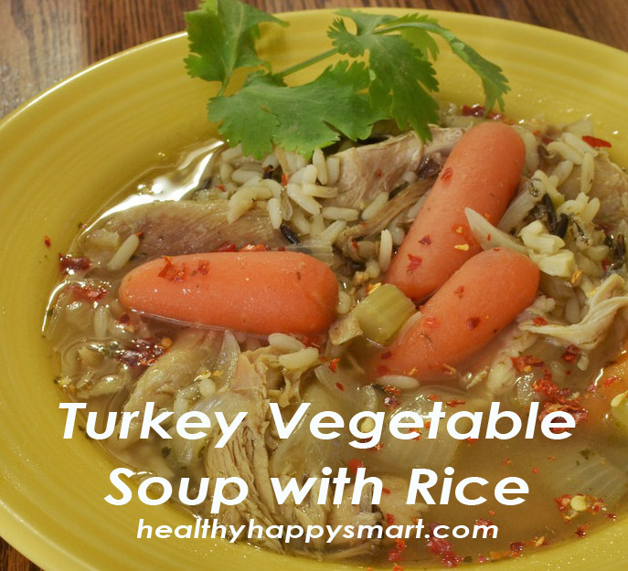 Turkey Vegetable Soup with Rice - great for leftover turkey meat from Thanksgiving. #HealthyHappySmart