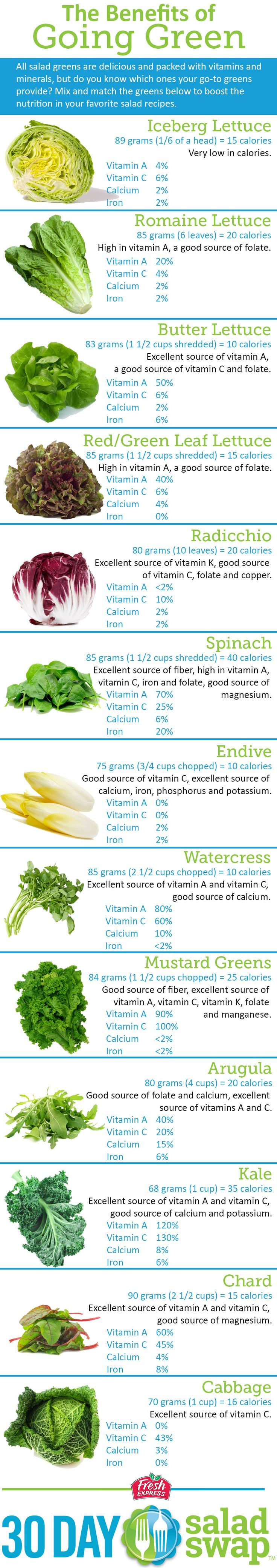 Eat your greens! Guide to nutrition and some top salad greens.