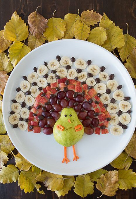 *Good For You* Party Food - Healthy Snacks, Turkey fruit tray for Thanksgiving. Healthy. Happy. Smart.