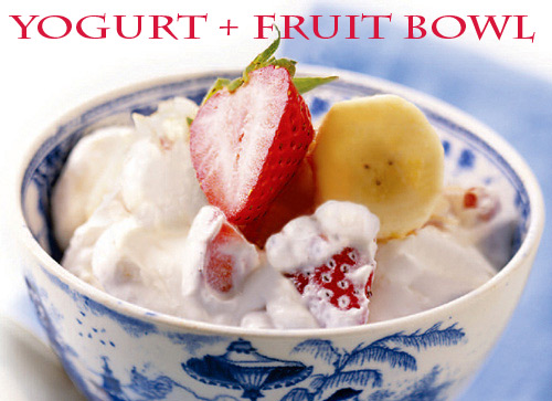 yogurt + fruit bowl - The best list of healthy snacks + more
